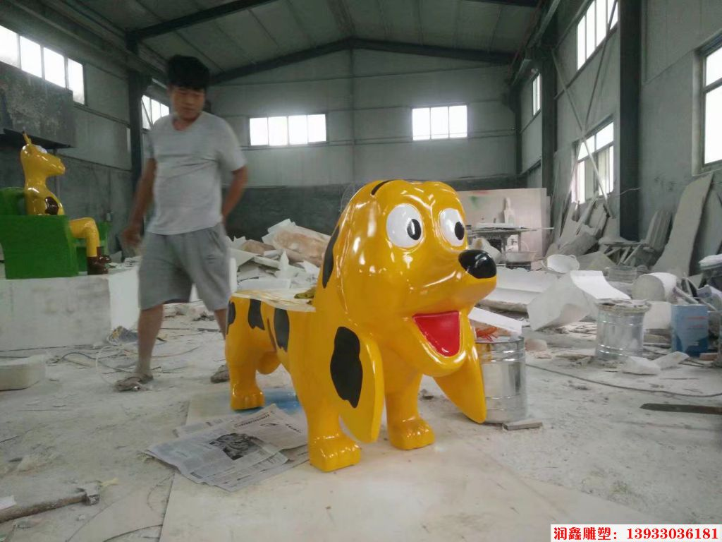 玻璃钢小狗雕塑 小狗座椅雕塑
