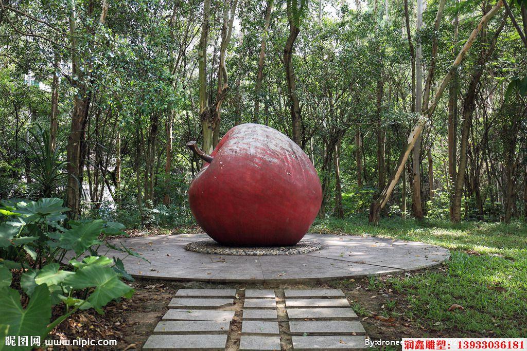 公园仿真苹果不锈钢雕塑