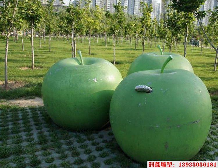 绿苹果不锈钢雕塑 公园仿真苹果雕塑