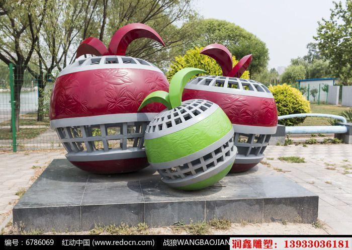 三个苹果不锈钢雕塑 水果不锈钢雕塑