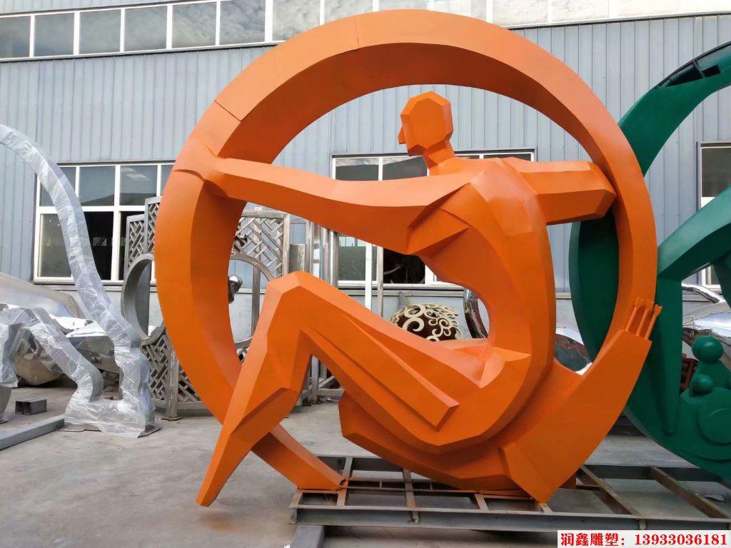 不锈钢运动题材景观雕塑 人物锻炼雕塑4